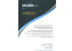 MiCOMLabs certificate